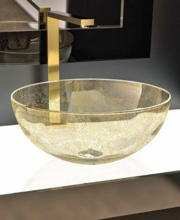 Glass washbasins yellow