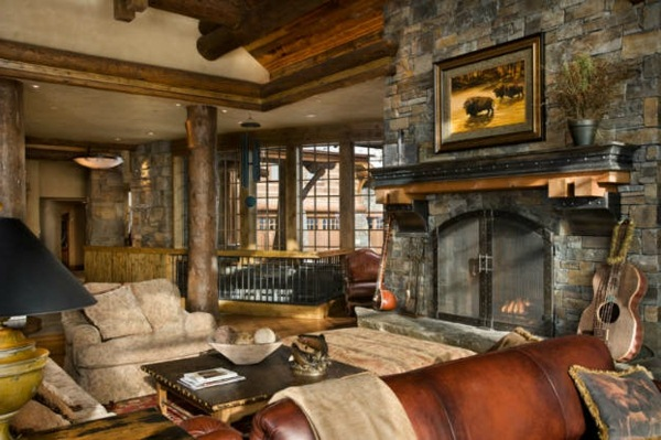 Living room fireplace with a rustic super