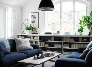 Living-room-with-two-depp-blue-sofas