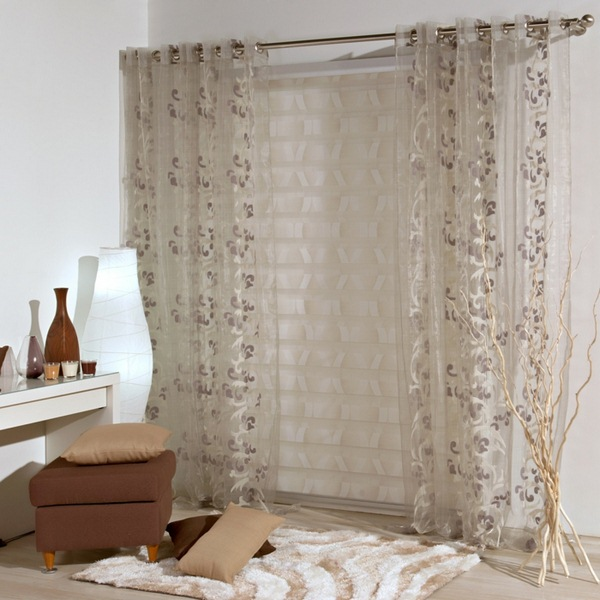 NET fabrics curtains curtains curtain dekogardinen floral pattern neutral colors transparent