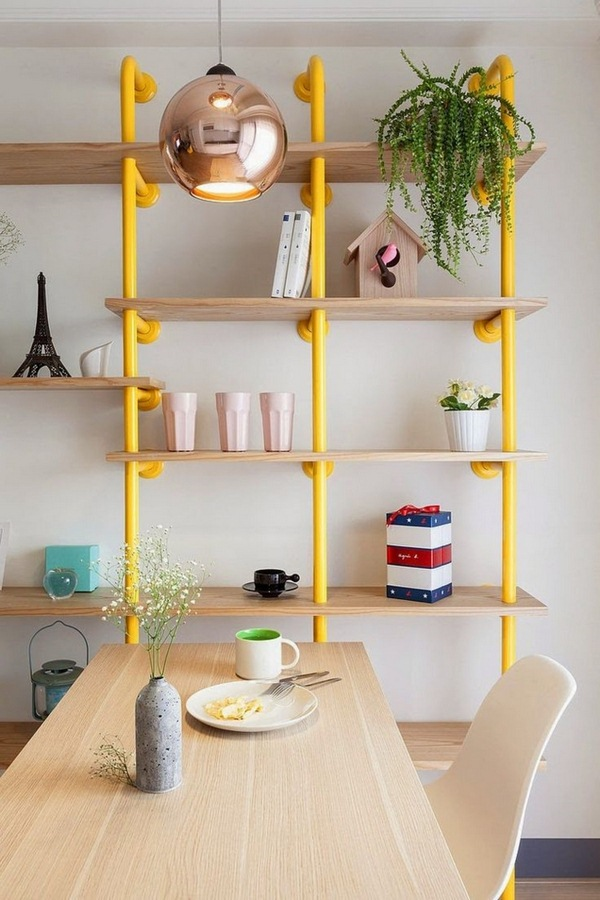 University ideas dwell tube bookshelves diy home ideas yellow shelves