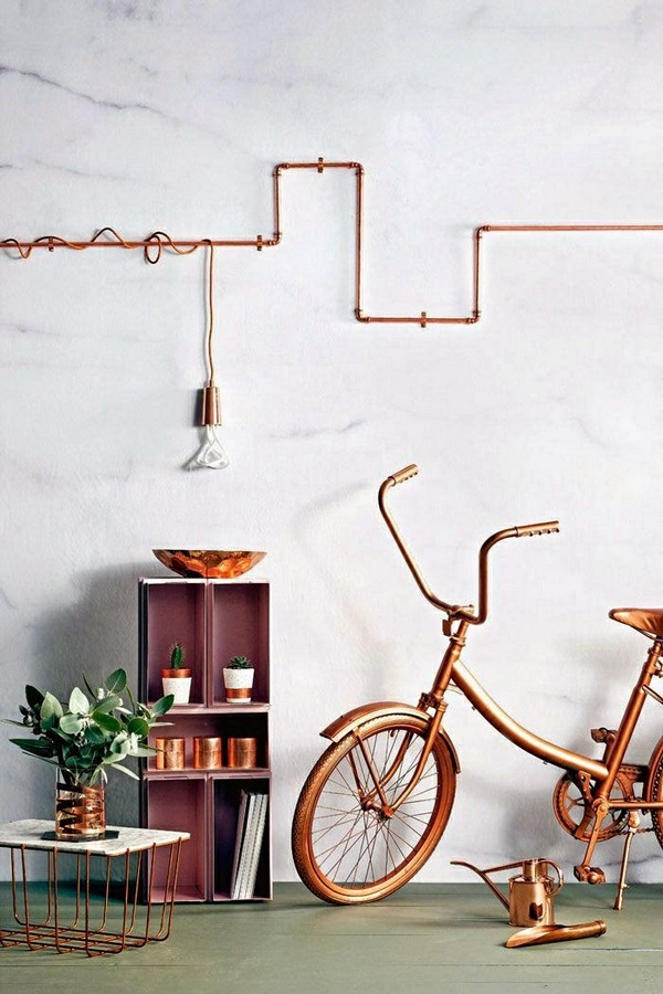 University ideas dwell tube wall decoration mural design brass copper pendant bicycle cup