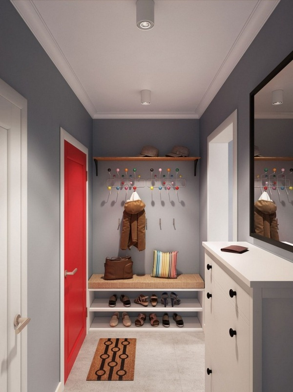 Wall color gray corridor color accent red door white wall wardrobe bench