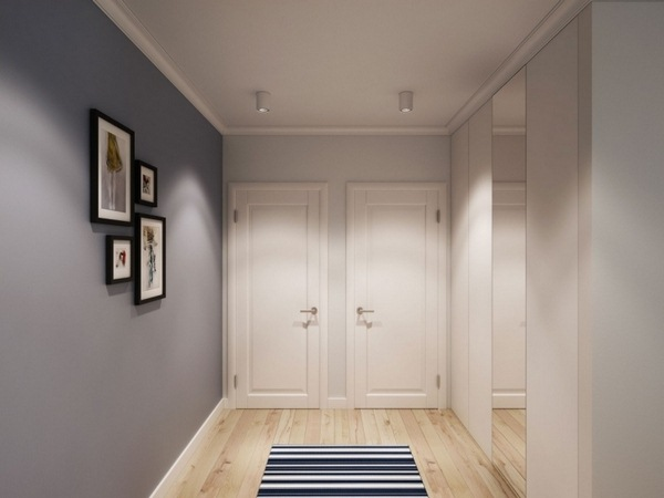 Wall color gray corridor hallway floor wood fitted wardrobe