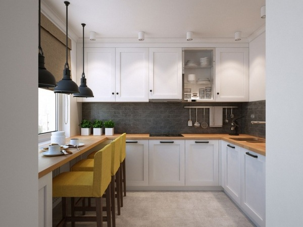 Wall gray white color kitchen tiles wood worktop kitchen wall