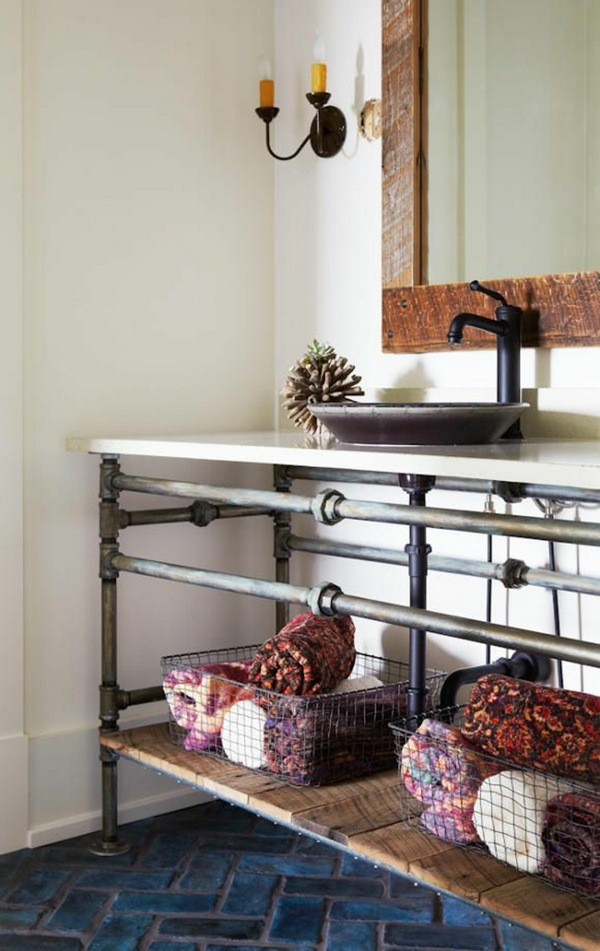bathroom diy industrial University ideas dwell tube style shelves bath towels living idea