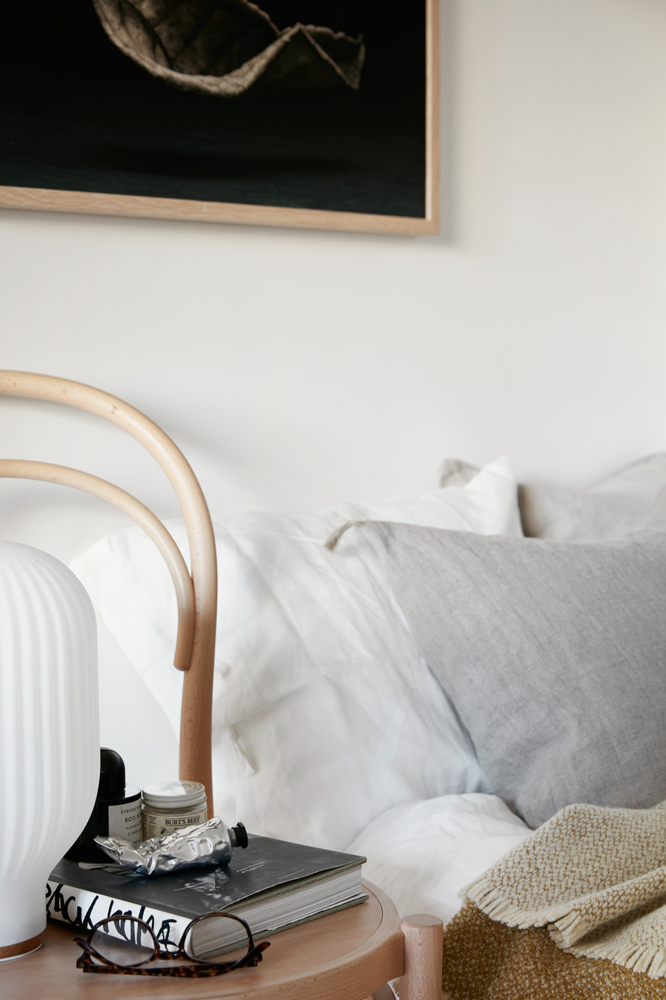 bedside styling neutrals + wood