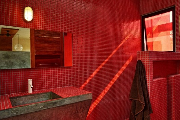 brick red sink tile bathroom mosaic geometry colors