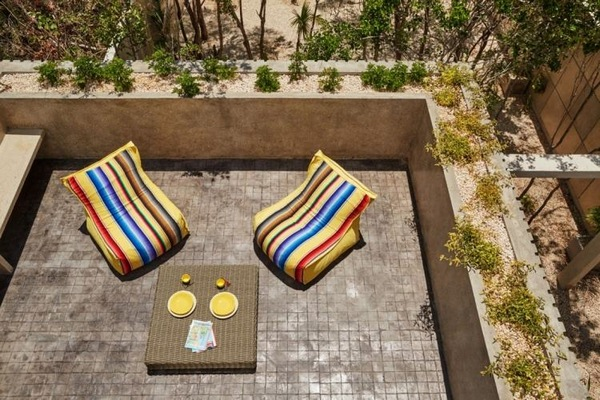 geometric colors yellow terrace beanbags