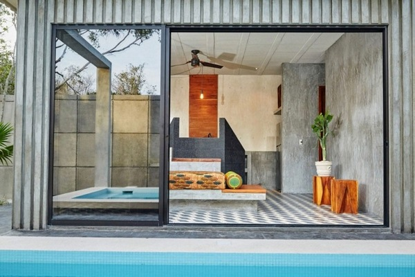 geometry colors garden terrace sliding door pool tiled floor