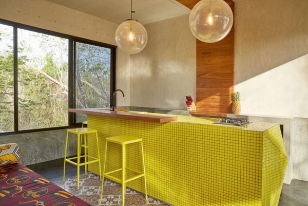 geometry colors kitchen counter bright yellow mosaic