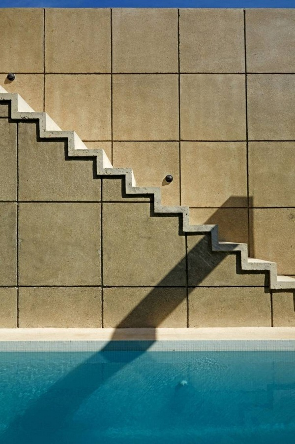 geometry colors modern house Kohkan concrete geometric pool