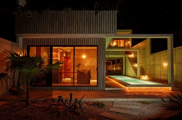geometry colors modern house Warm lighting aussenebereich pool