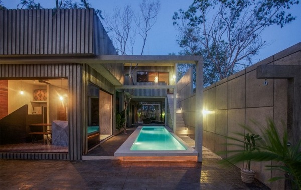 geometry colors modern house outside area garden outdoor pool