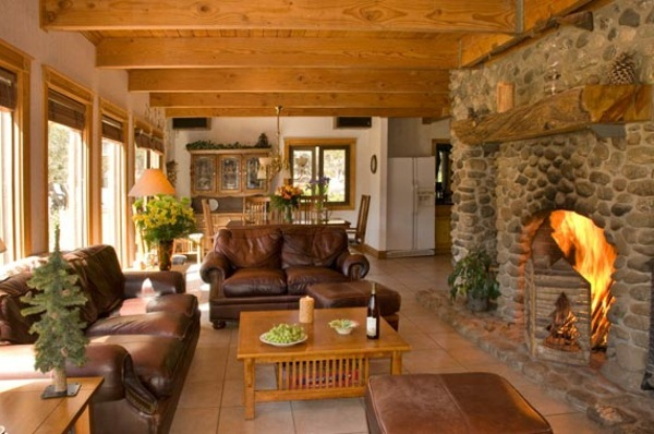 living room rustic stone fireplace