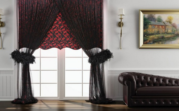 net curtains curtain fabrics curtains black red tendril pattern tulle leather sofa