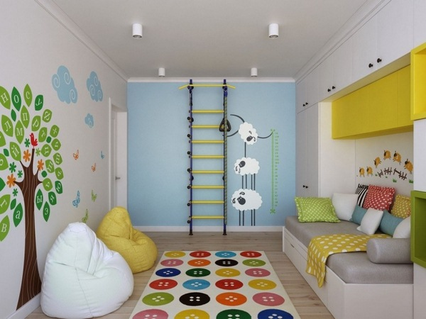nursery white yellow carpet colorful playful accents