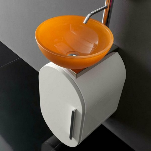 washbasins glass orange