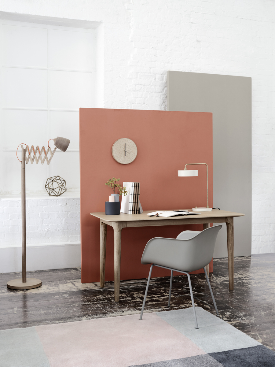 Minimalist modern Scandinavian style workspace. Tylko Hub table, Muuto chair