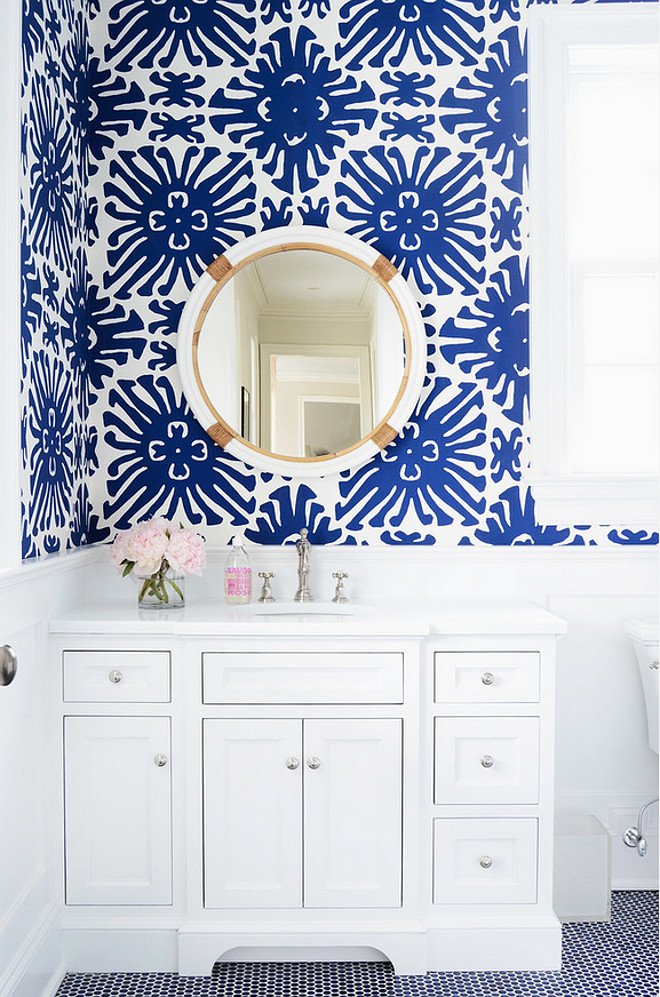 Pattern bathroom wallpaper4