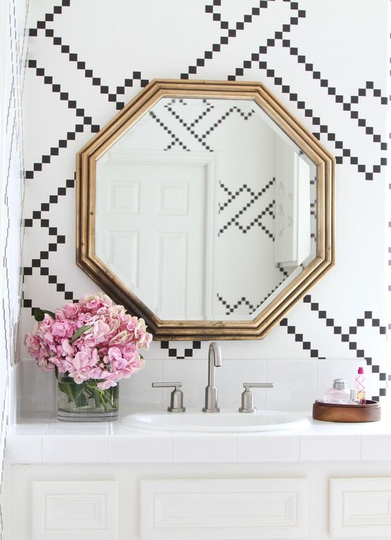Pattern bathroom wallpaper5