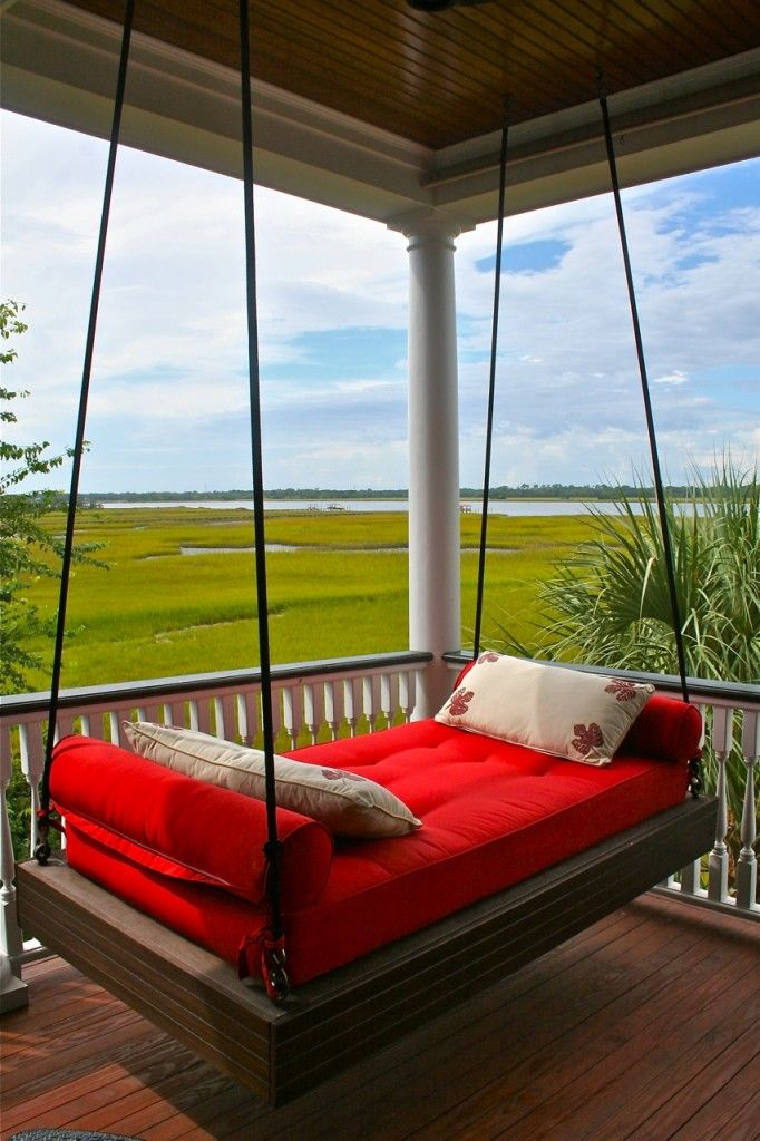 Red hanging porch bed