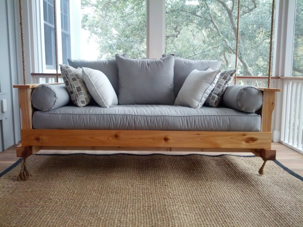 Wooden porch swing bench