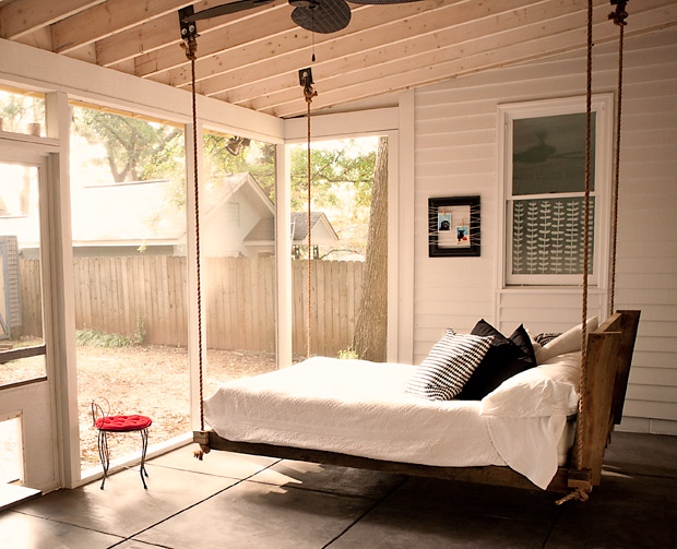 romantic hanging porch bed