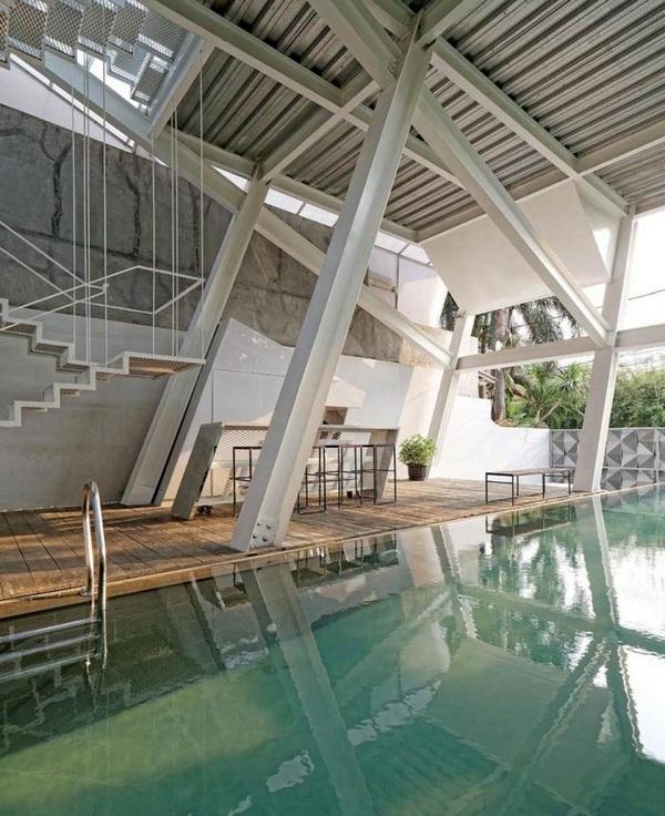 window fronts metal stair ceiling pool area stahltraeger modern