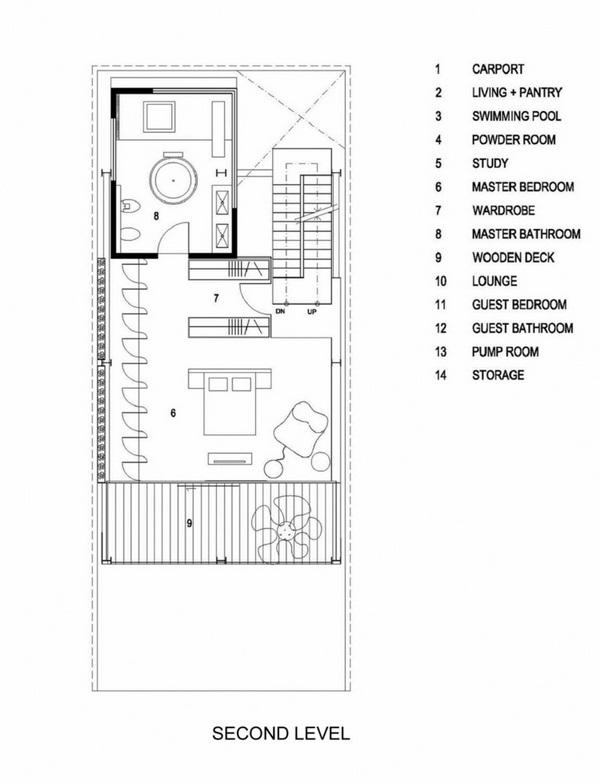 window fronts metal stair floorplan second floor bedrooms bathroom terrace