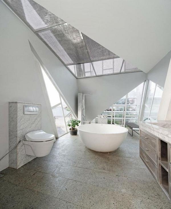 window fronts metal stairs bathroom freestanding bathtub modern round