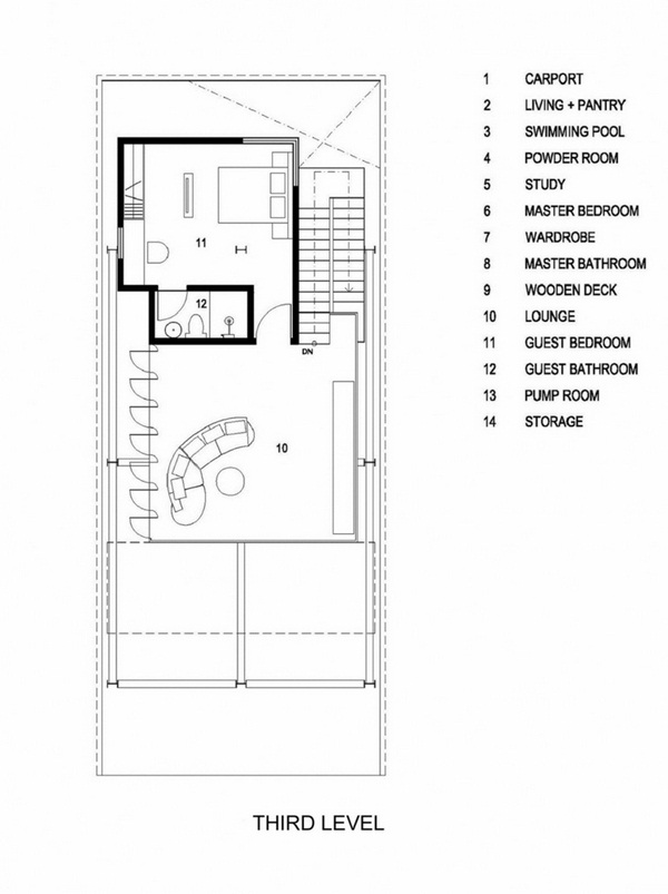 window fronts metal stairs third floor floorplan Guest room small bathroom lounge
