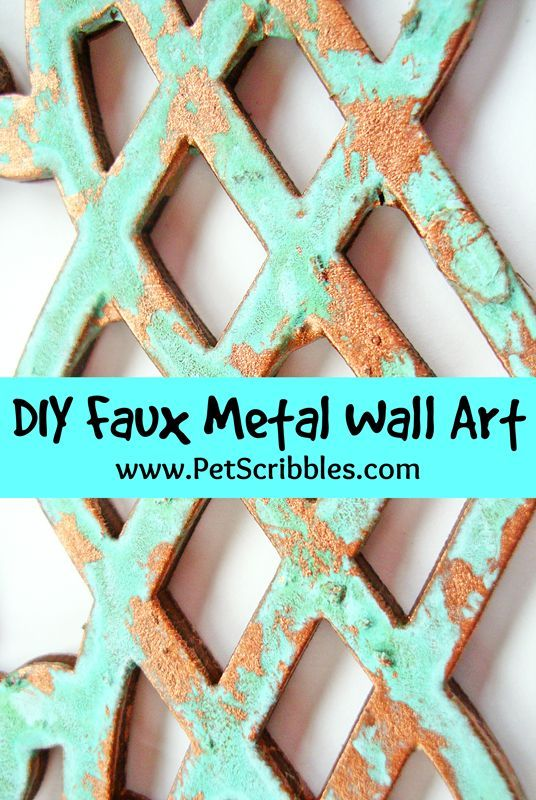 DIY faux patina metal wall art