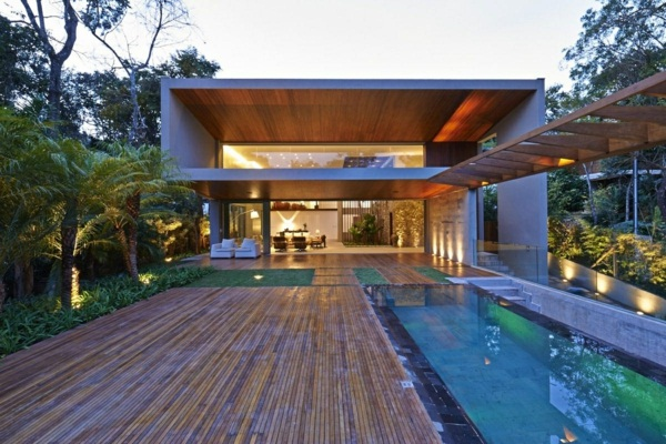 luxury cottage with pool tropical house