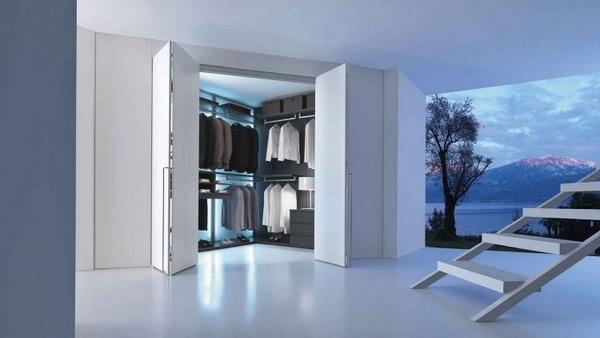 White folding in reward walk-in wardrobe stair doors modern minimalist