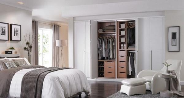 inside bedroom bed modern doors wardrobe folding white clothing