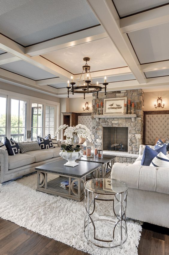 beige and grey coffered ceiling for a living room
