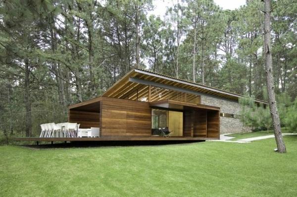 super modern house with wooden facade