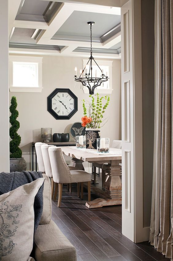grey and white coffered ceiling for a dining area