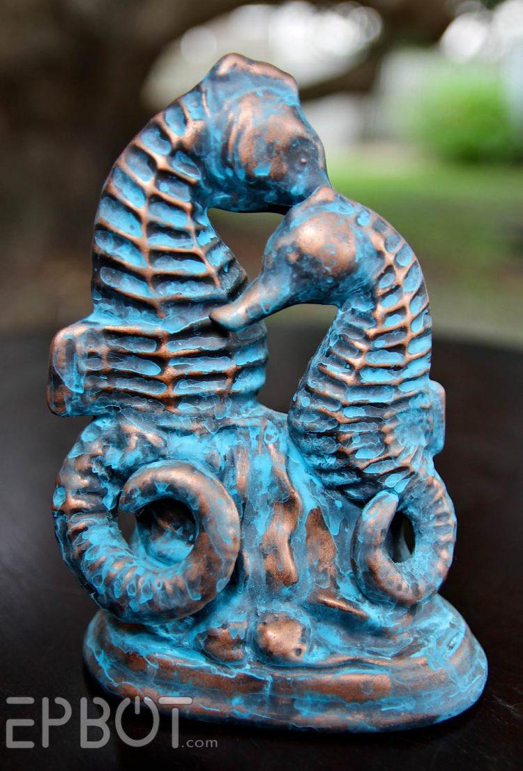 DIY patina copper seahorse statue