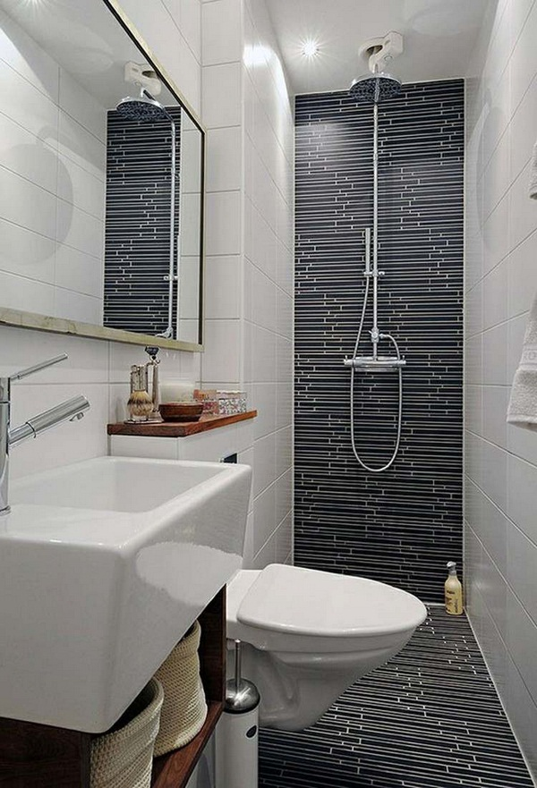 Guest wc make modern design art deco mosaic tiles strappy shower