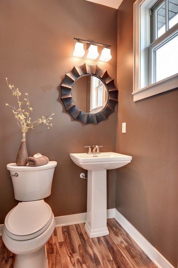 Guest wc make windowless little room decoration Browns round mirror