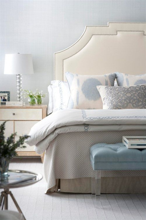elegant nail trim upholstered headboard