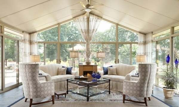University ideas conservatory veranda elegnt beige chimney upholstered seating furniture