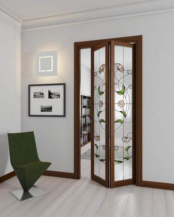 Folding doors inside glass metal edges-white carpet gray walls