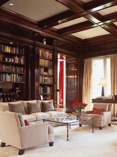 dark wood and white coffered ceiling for a study