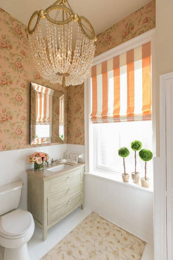 make shabby chic vanity unit wall wallpaper chandelier guest wc