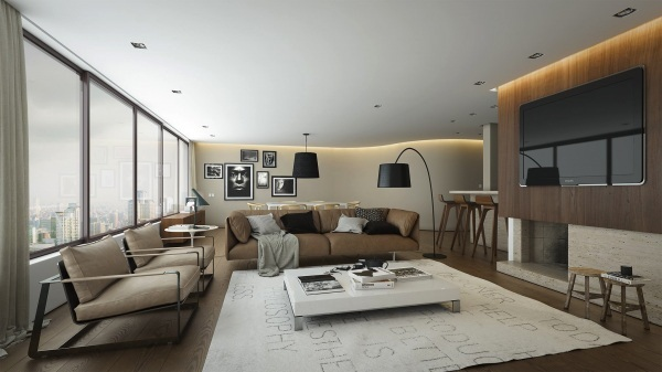 small open concept living room and kitchen