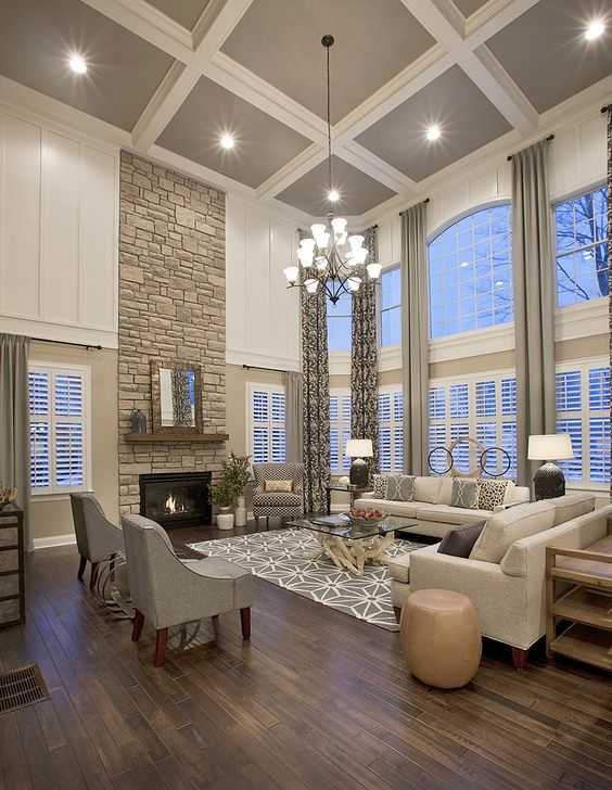 grey and white coffered ceiling for a living room