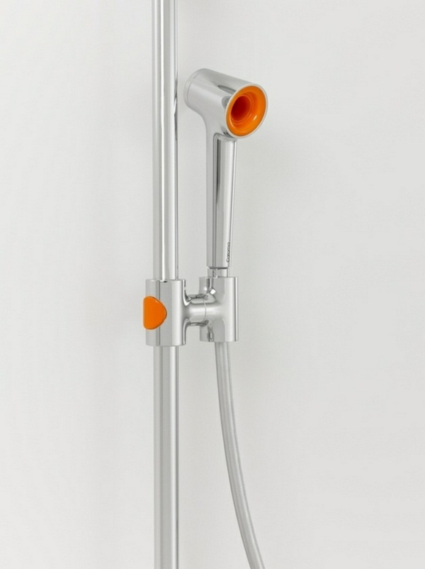 Bath shower head stainless steel orange plastic detail modern design
